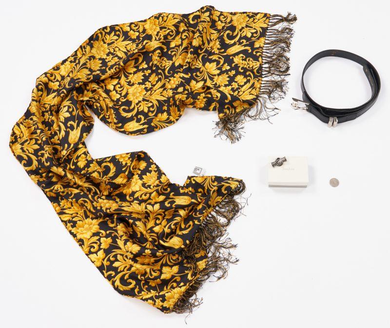 Lot 1033: 3 Versace items, incl. Silk Scarf, Lapel, Belt
