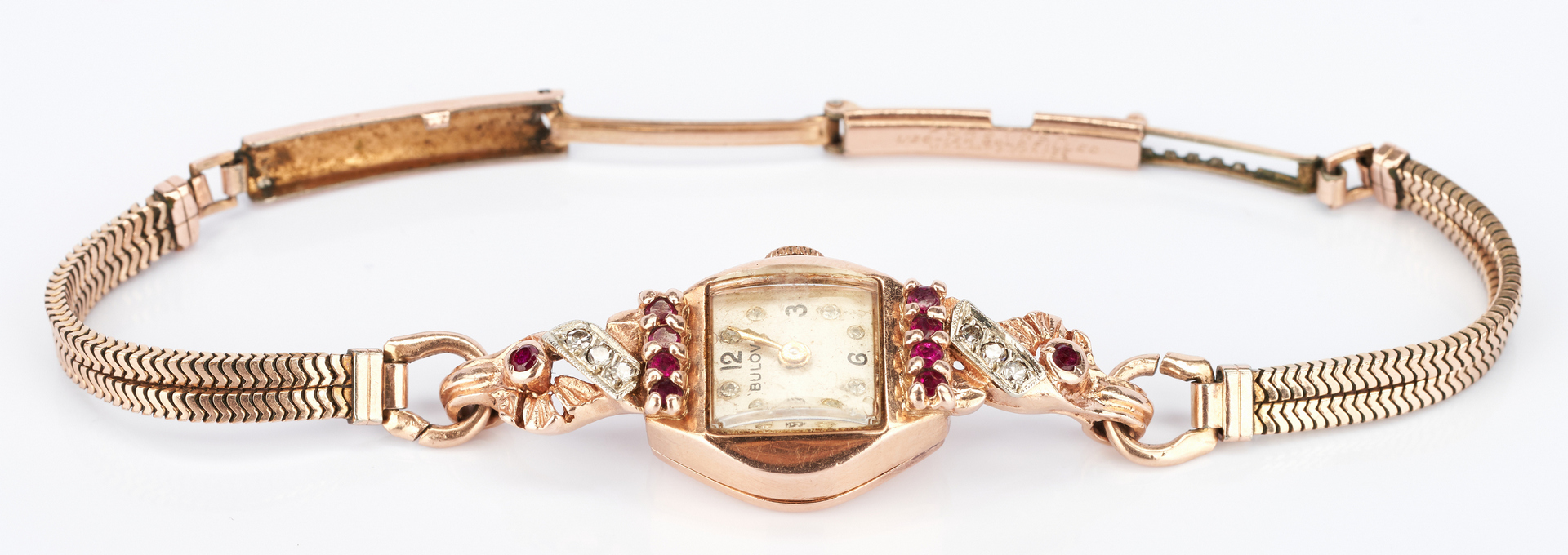 Lot 1035: 2 14K Bulova watches, one in rose gold with