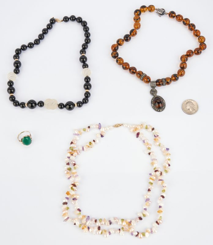 Lot 1036: 3 Ladies Necklaces and 1 10K Ring
