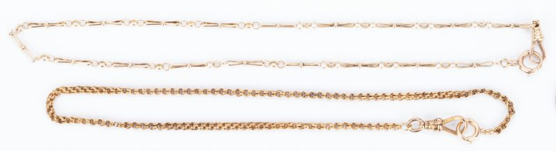 Lot 1039: 2 10K Watch Chains or Fobs