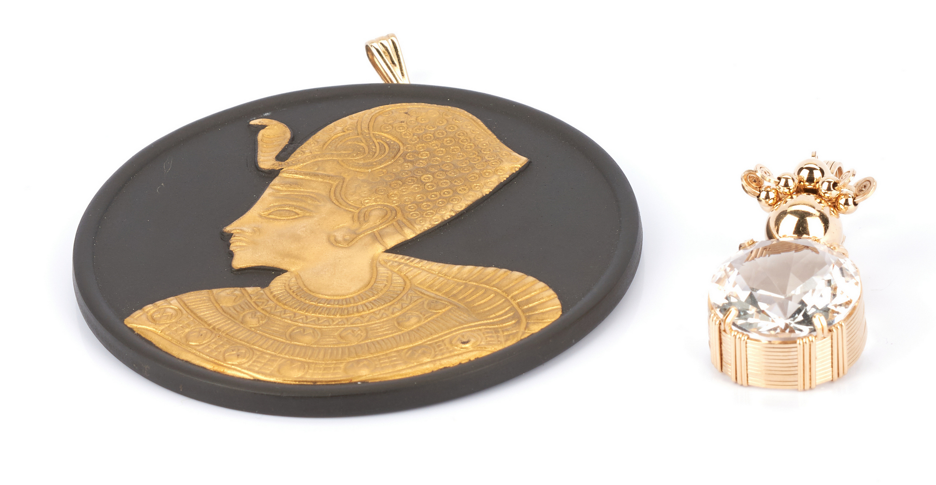 Lot 1040: Wedgwood Pendant with Egyptian Motif and 14K Pendant with Quartz