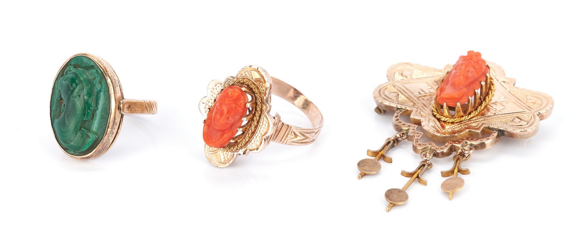 Lot 1041: 2 Ladies 10K Rings and 1 Brooch with Cameos