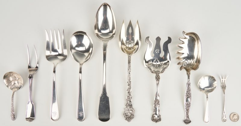 Lot 1045: 10 Sterling Serving Utensils inc. Stuffing Spoon
