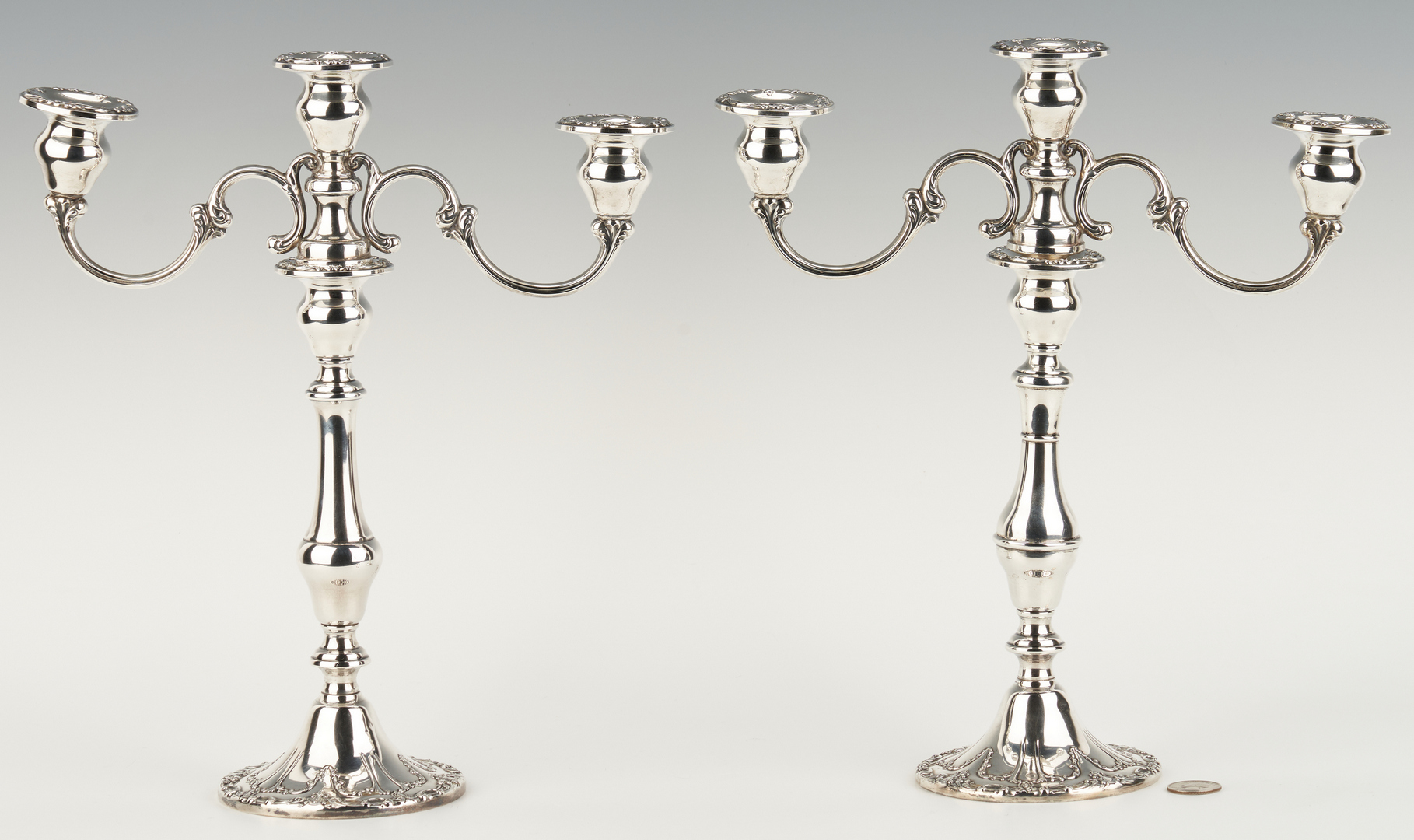 Lot 1049: Pair Gorham Chantilly 3-Light Candelabra