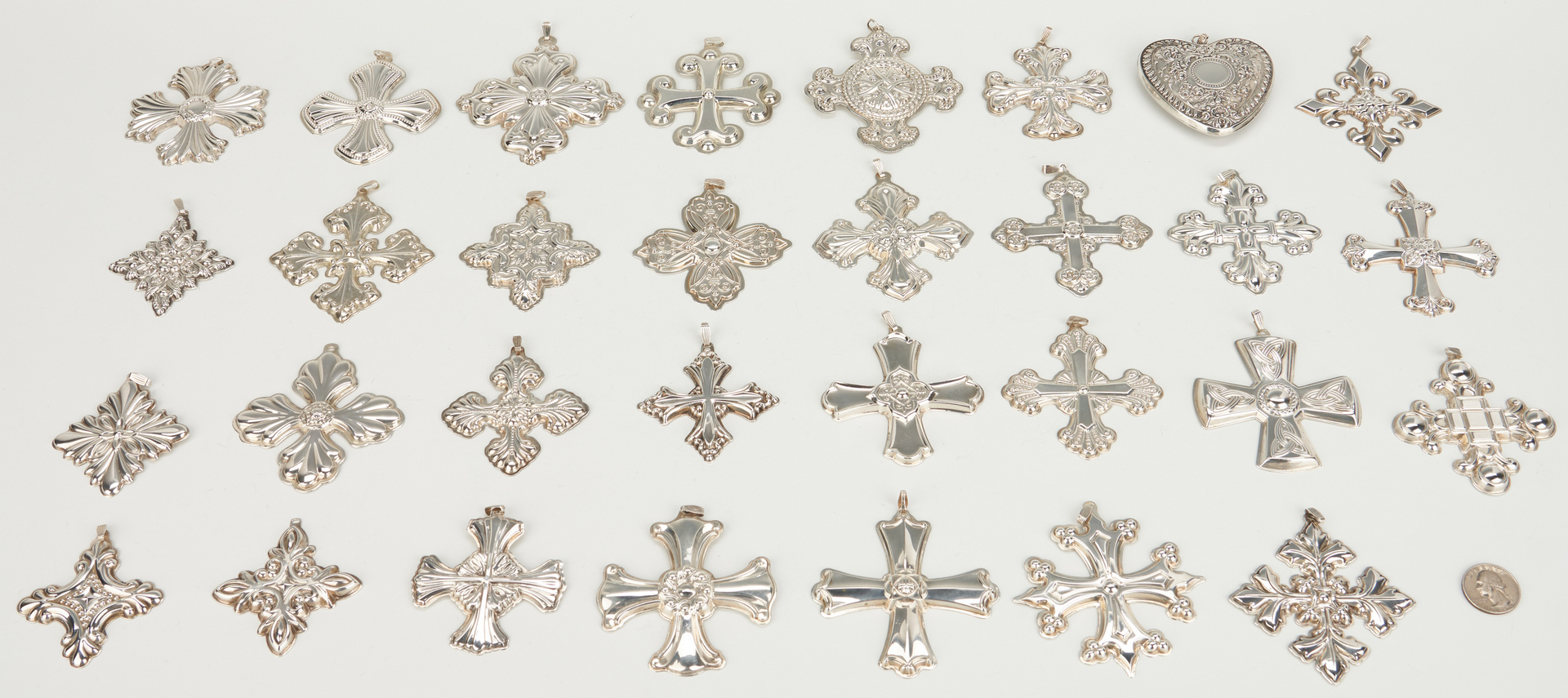 Lot 1051: 31 Reed & Barton, Towle & Gorham Sterling Crosses