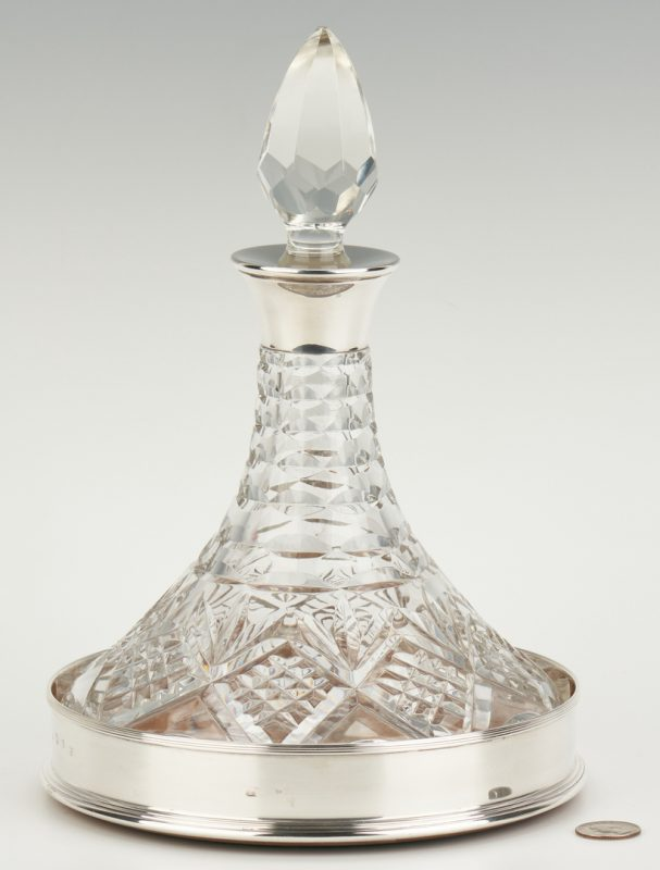 Lot 1052: Ship Decanter w/ Sterling Coaster