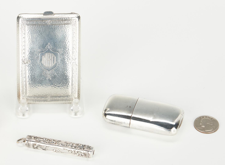 Lot 1053: 3 Sterling Silver Items, Purse, Pen & Flask