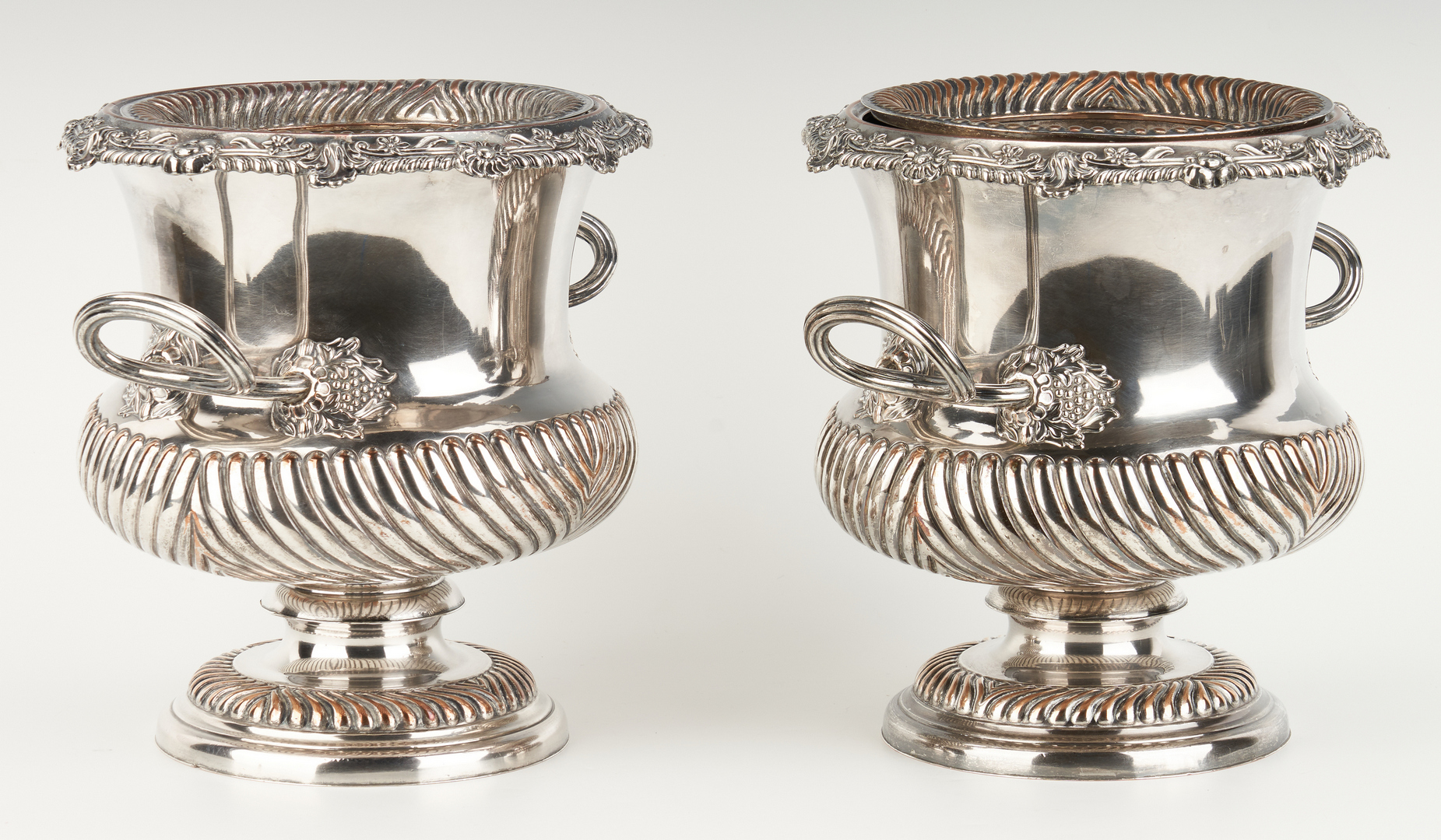 Lot 1056: Pair Old Sheffield Plate Wine Coolers