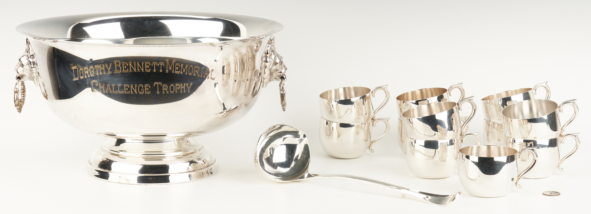Lot 1058: Horse Trophy Punch Bowl, Cups and Ladle