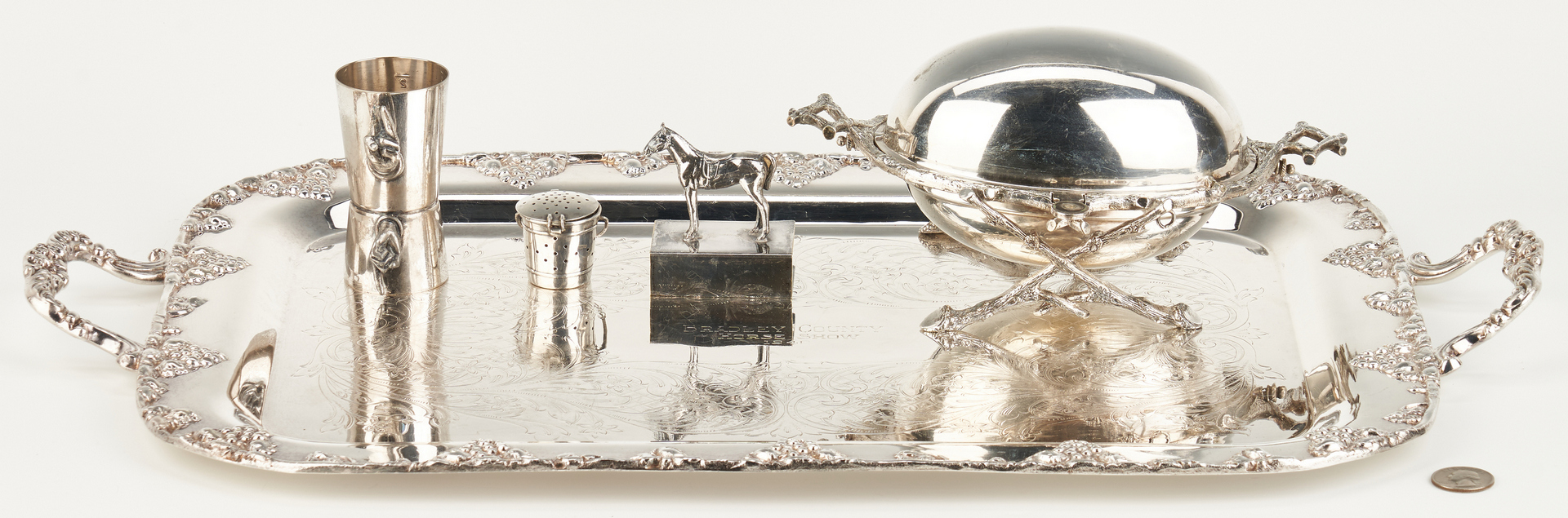 Lot 1059: 5 Silverplated Items incl. Horse Trophy Tray