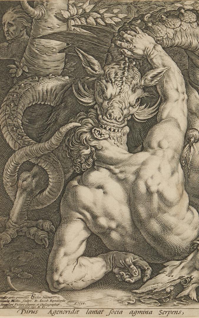 Lot 105: Hendrick Goltzius, Dragon Devouring the Companions of Cadmus