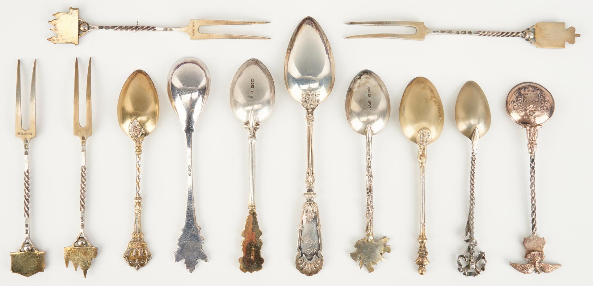 Lot 1061: 31 Souvenir Spoons inc CA, TN, AK & Enameled