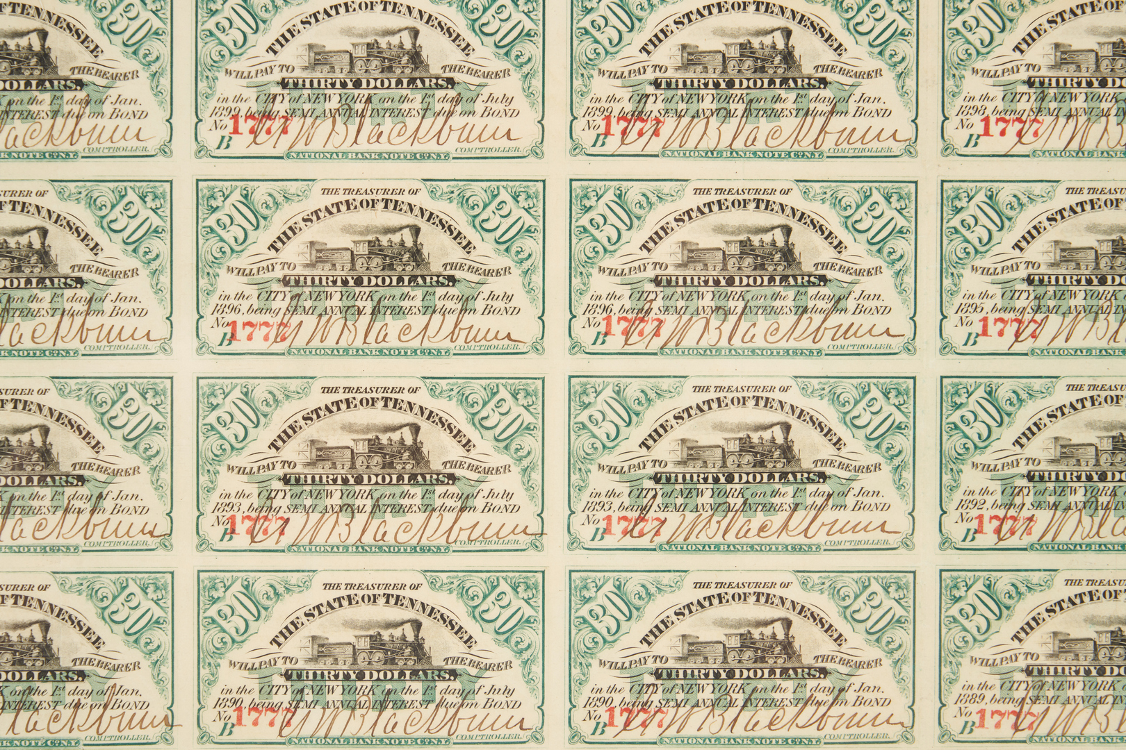Lot 1064: 8 Obsolete Currency Notes, incl. TN $1000 Bond