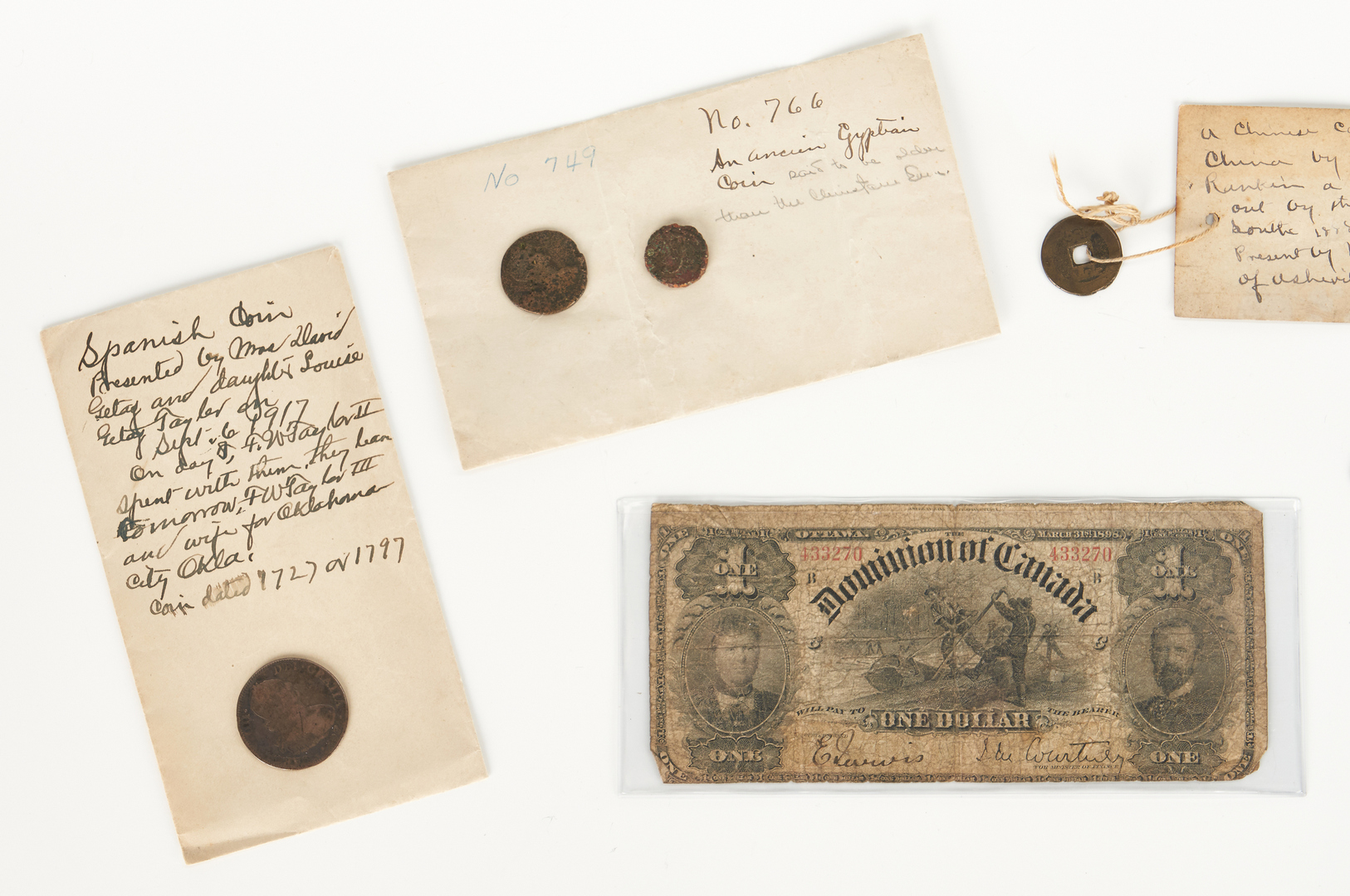 Lot 1065: 14 items Foreign and American Currency, incl. Silver