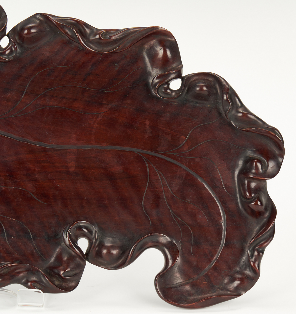 Lot 10: Meiji Hardwood Tray and Large Porcelain Charger