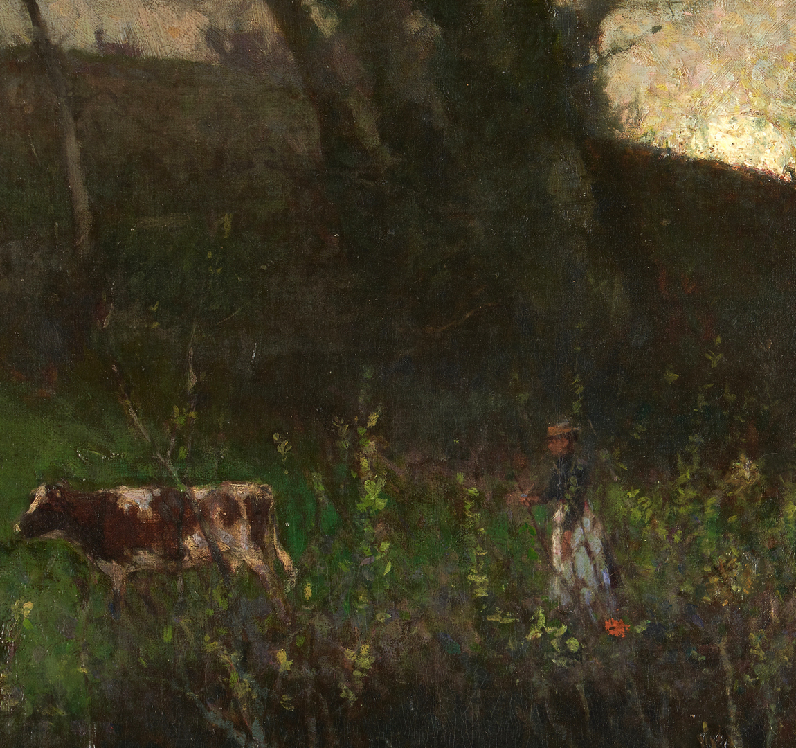 Lot 115: Lamorna Birch O/C, Landscape with Figure and Cattle