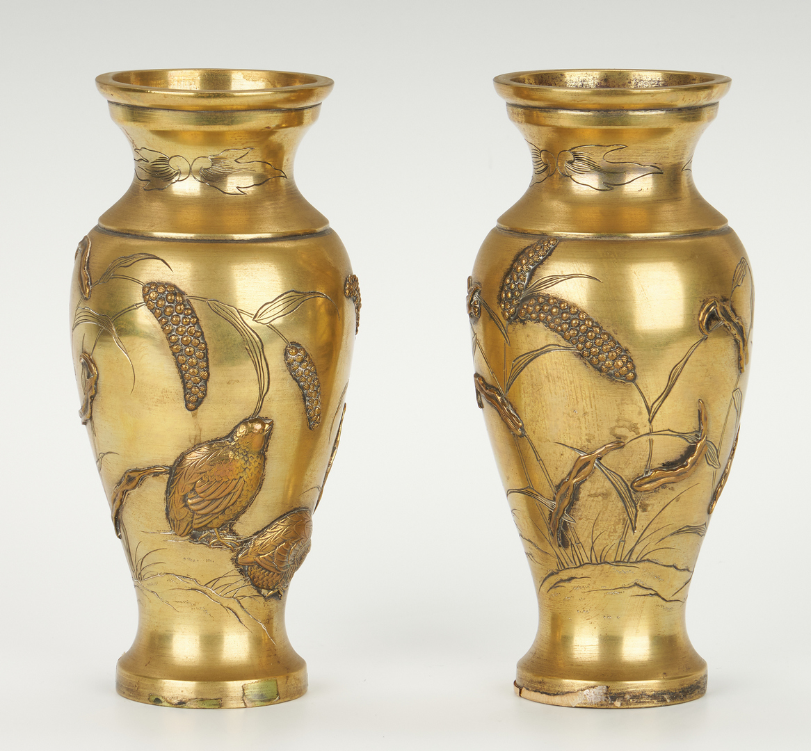 Lot 11: Pair of Asian Bronze Vases and Footed Bowl
