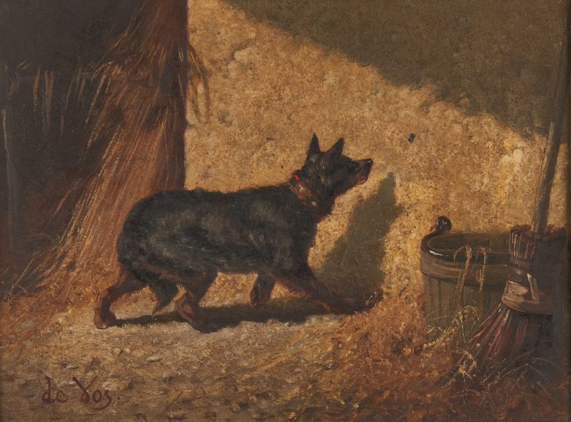 Lot 120: Vincent de Vos O/P, Dog With Insect