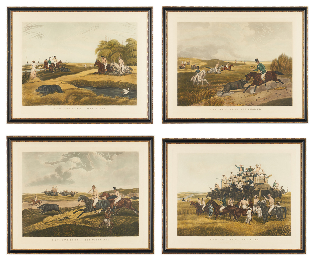 Lot 121: 4 Hog Hunting Prints after Capt. John Platt