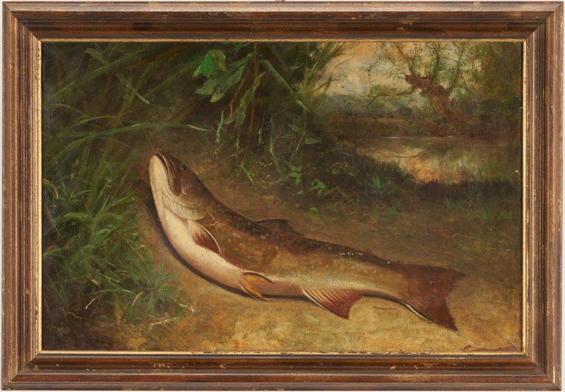 Lot 122: American School O/C, Portrait of a Fish
