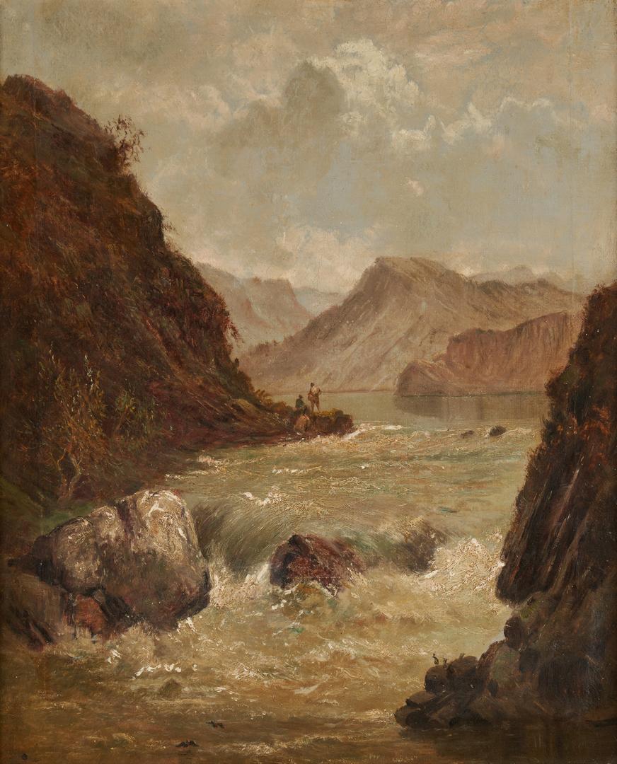 Lot 123: Alfred De Breanski O/C, Fishing Scene