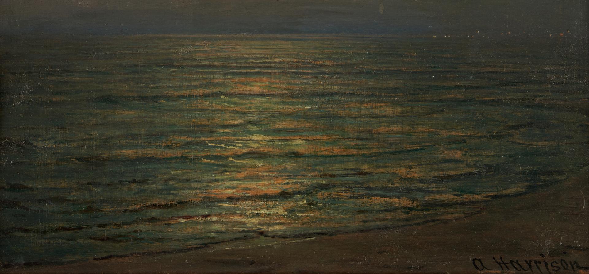 Lot 128: Thomas Alexander Harrison O/B Moonlit Seascape