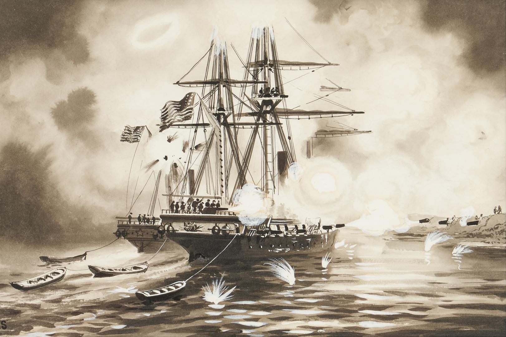 Lot 129: Xanthus Smith W/C, Ship Bombarding the Shore