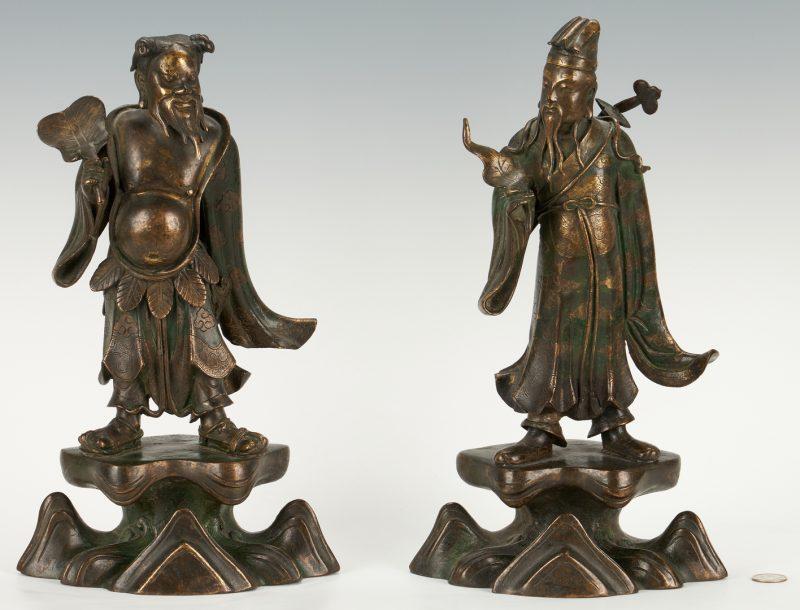 Lot 12: Pair of Daoist Bronze Figural Sculptures