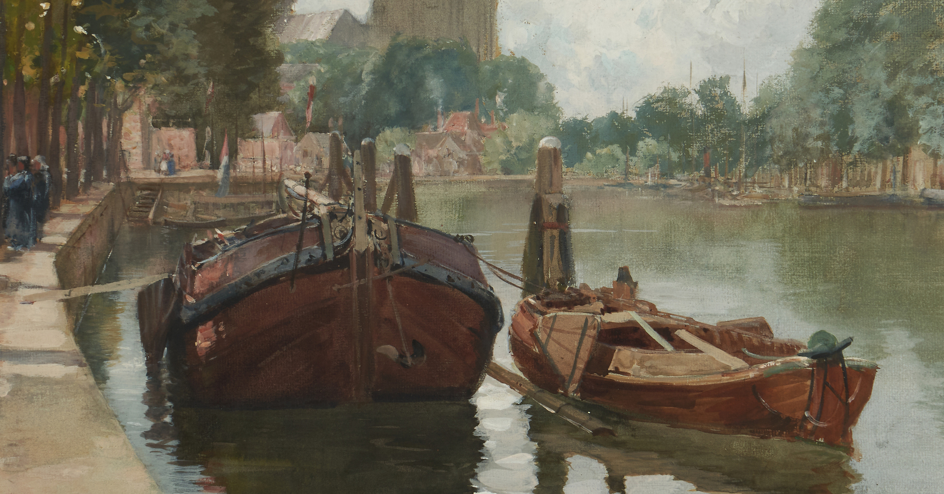 Lot 130: Francis Hopkinson Smith Canal Scene, Bruges