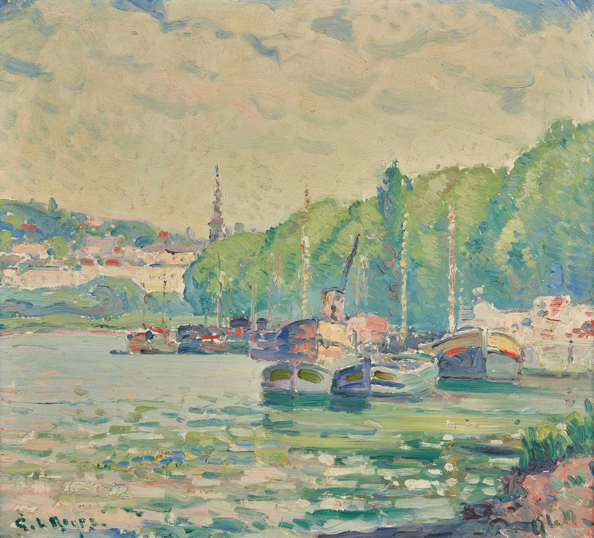 Lot 131: George Noyes O/B French River Scene