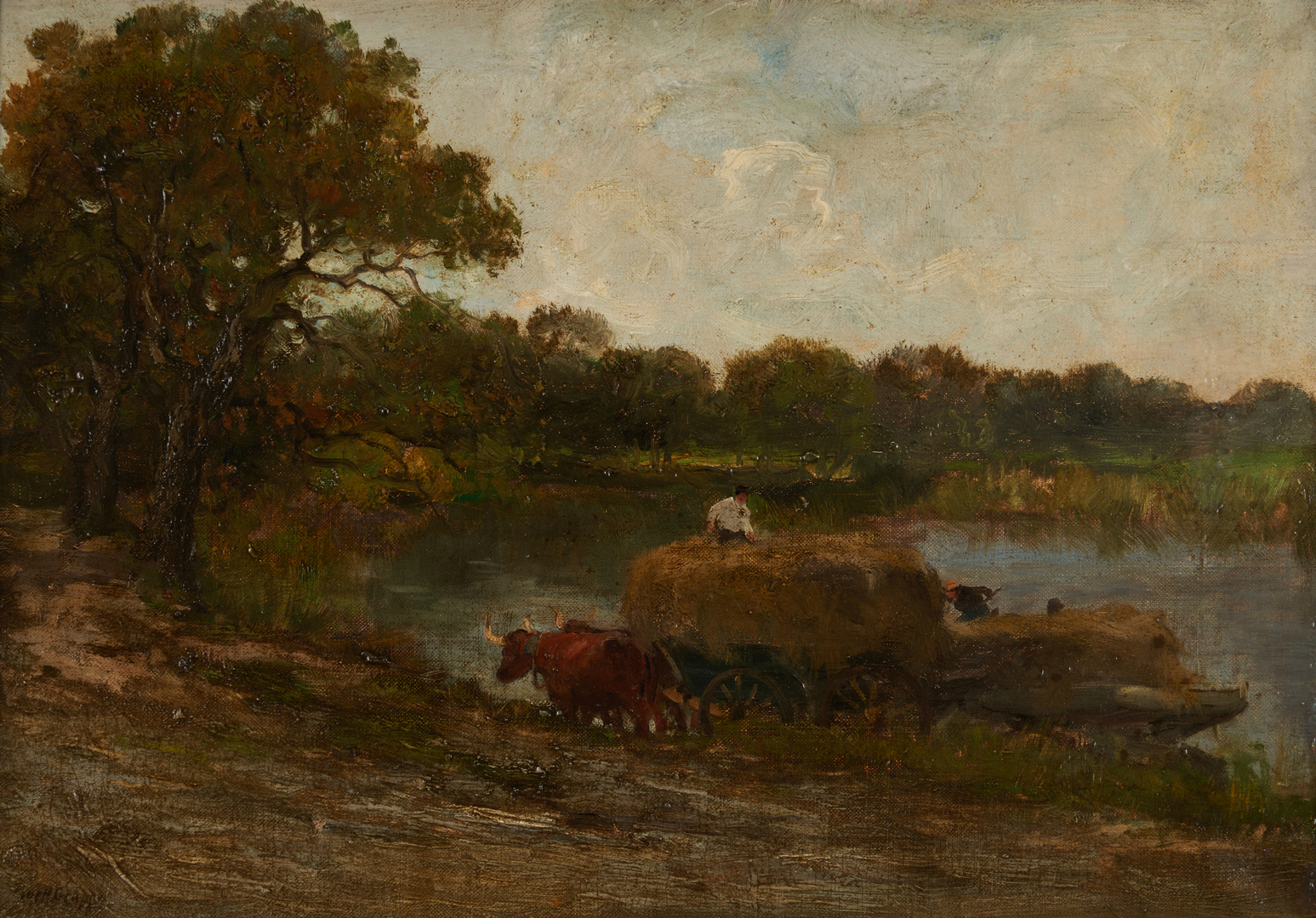 Lot 135: Charles Gruppe O/C, Unloading Hay, Connecticut River