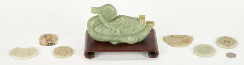 Lot 13: Chinese Carved Jade Duck and Plaques, 7 items