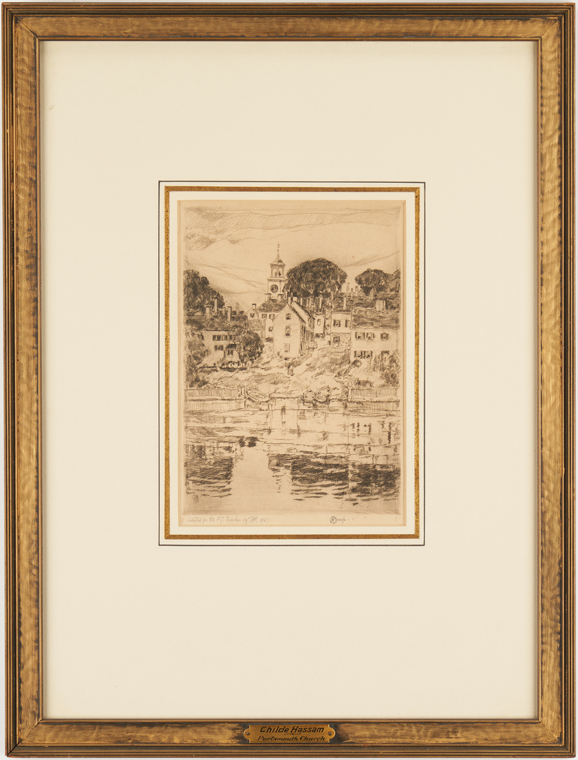 Lot 140: Signed Childe Hassam Etching, Portsmouth Church