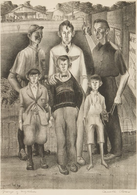 Lot 141: Carroll Cloar Lithograph, Group of Myselves