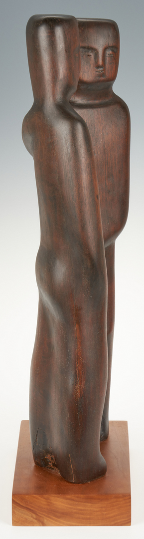 "Lot 148: Olen Bryant Wood Sculpture, ""David and Jonathan"""