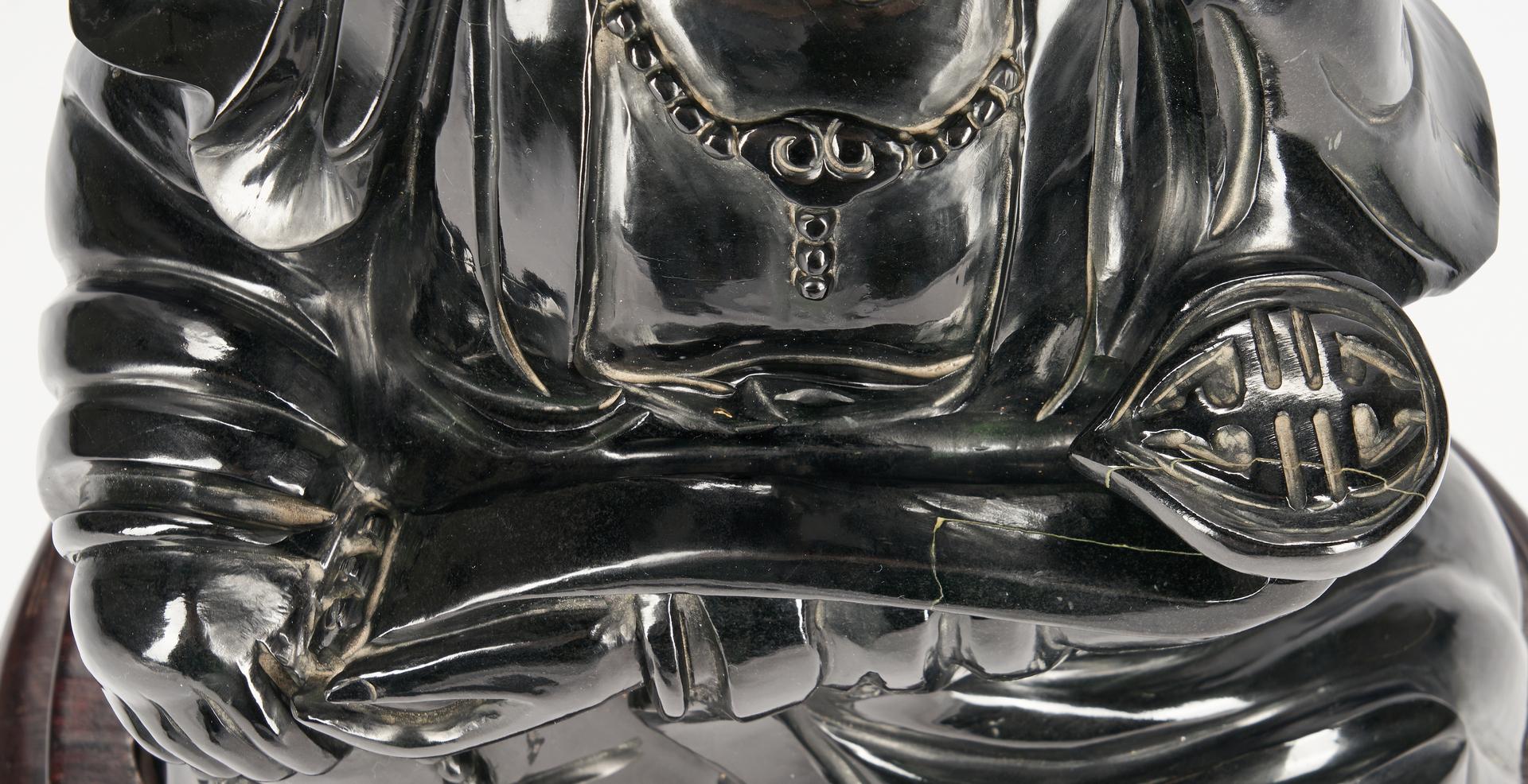"""Lot 14: Monumental Black Jade or Hardstone Guanyin, 21"""" H"""