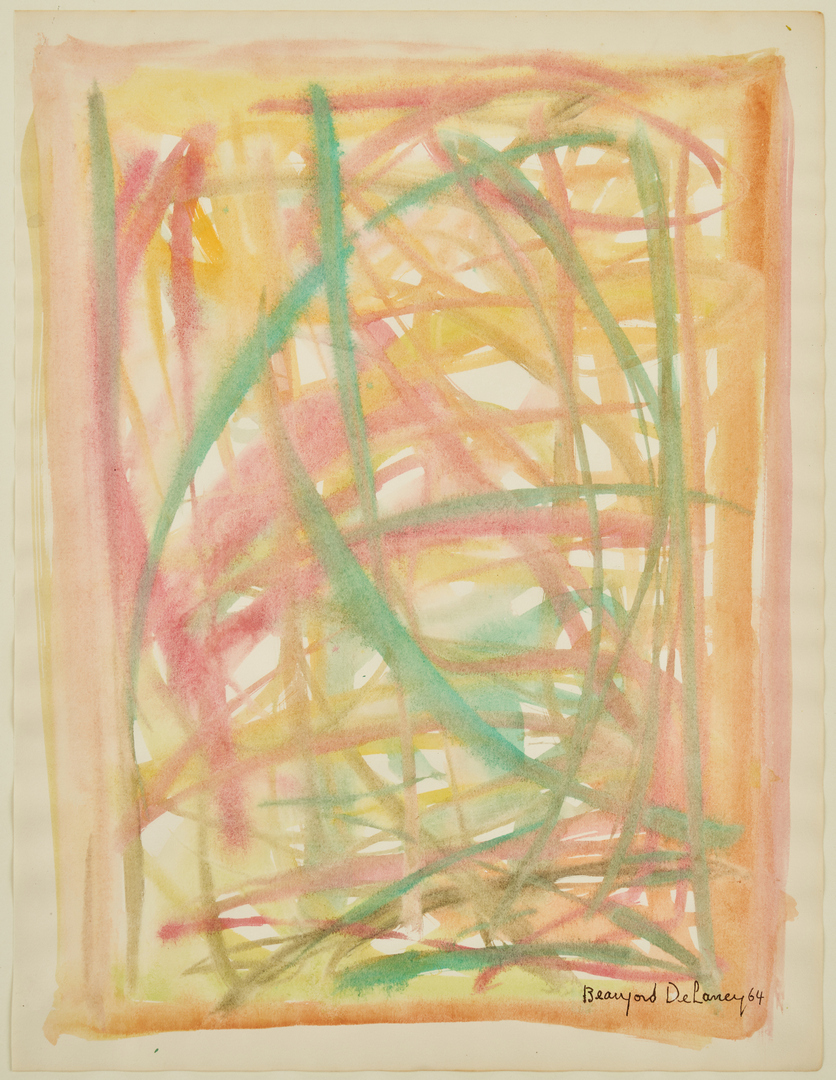 """Lot 150: Beauford Delaney Abstract Watercolor, """"Composition"""""""
