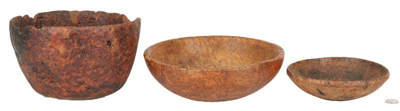 Lot 181: 3 American Burl Wood Bowls, 19th century or earlier