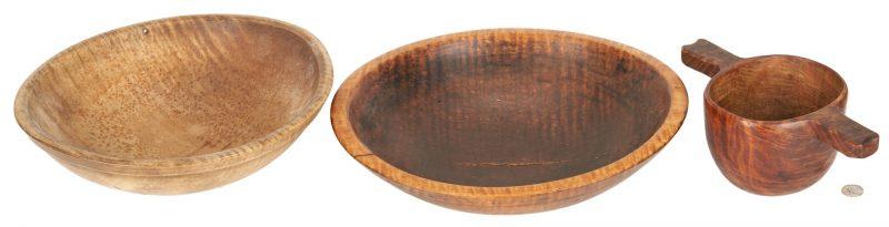 Lot 183: 3 Tiger Maple Bowls, incl. 1 w/ Handles