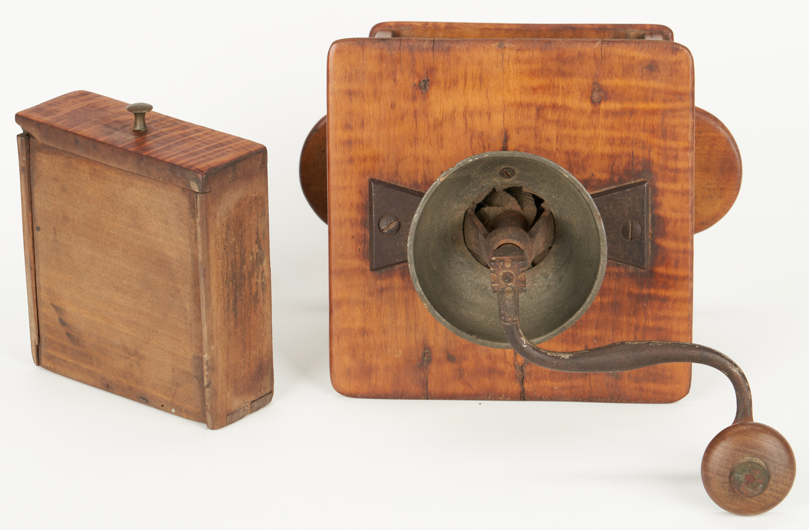 Lot 184: 3 Tiger Maple Kitchen Items, 19th C.