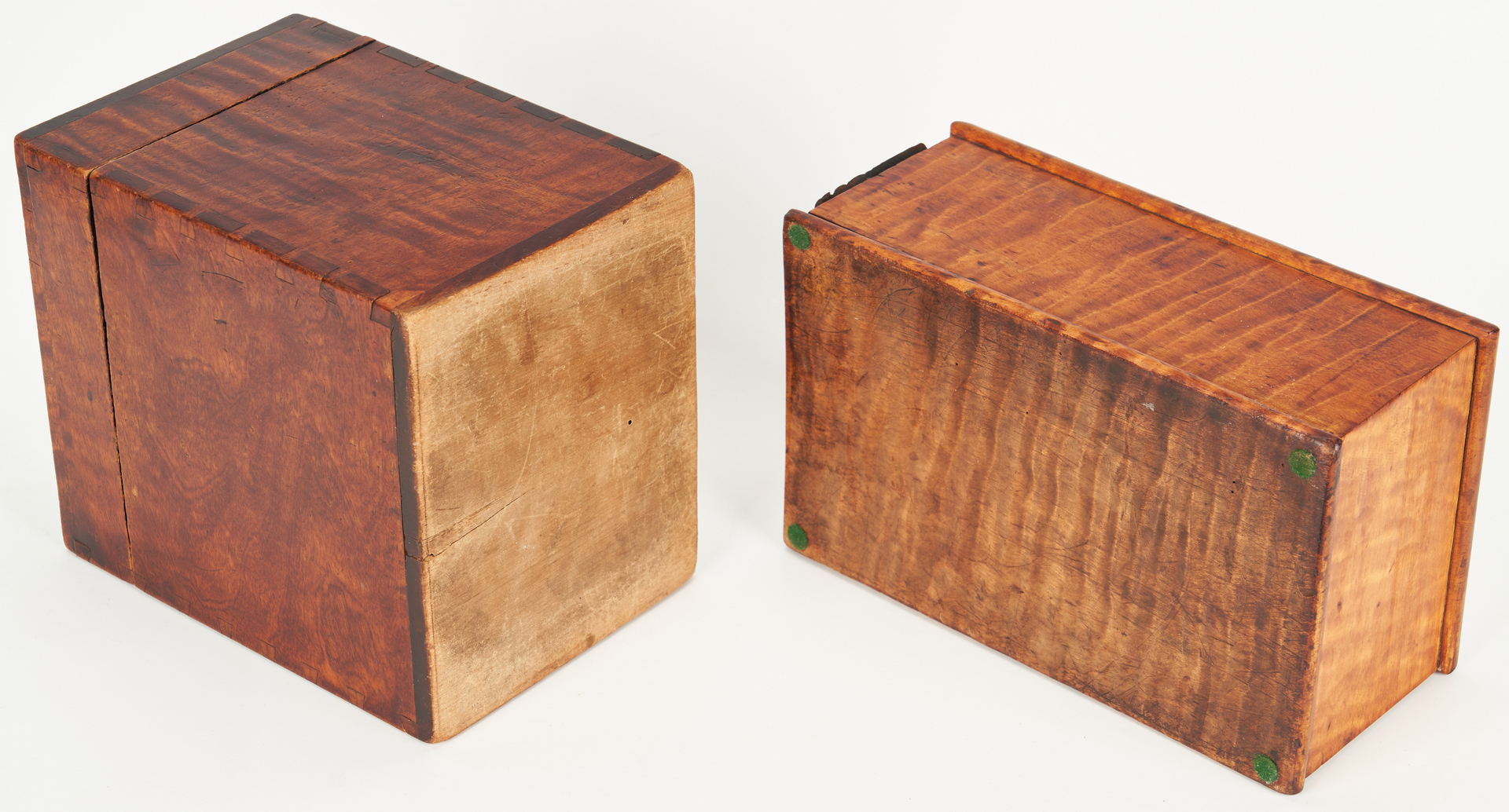 Lot 187: 3 American Boxes, Tiger Maple & Burl