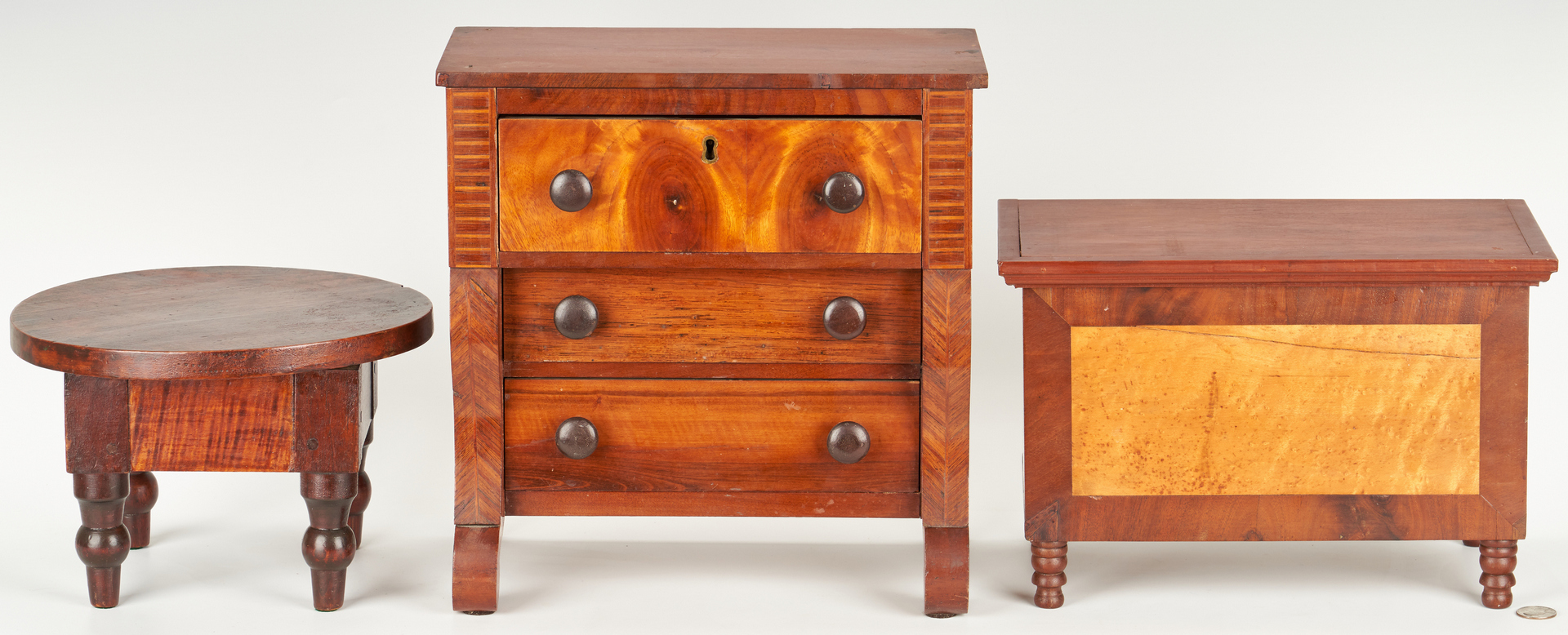 Lot 190: Miniature Chests and Table, incl. Birdseye and Tiger Maple