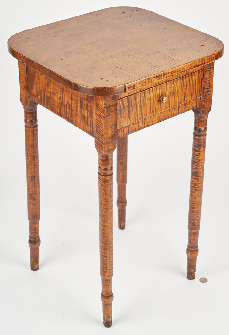 Lot 196: 2 Tiger Maple 1-Drawer Stands or Tables
