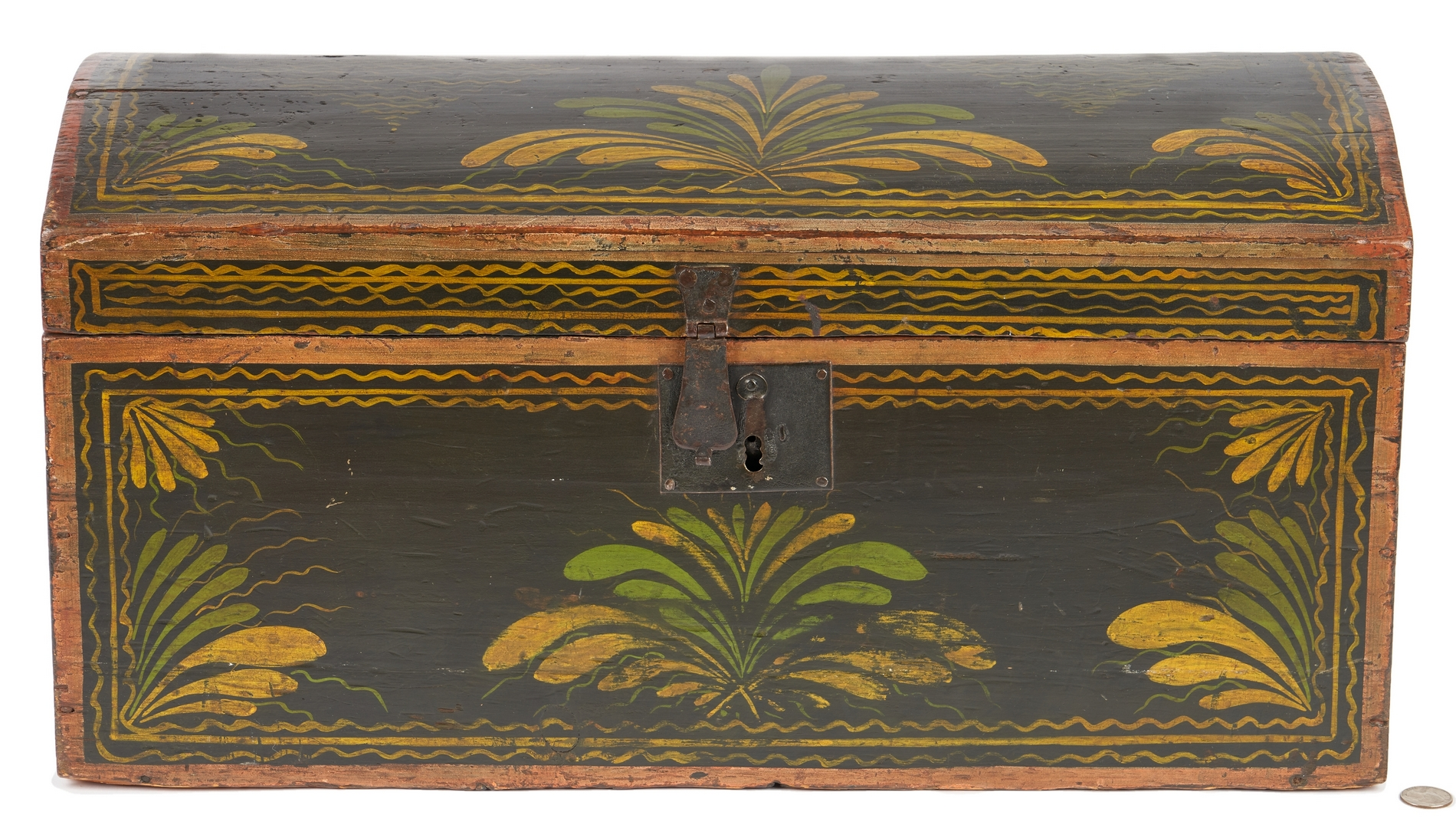 Lot 197: New England Painted Dome Top Box, MA