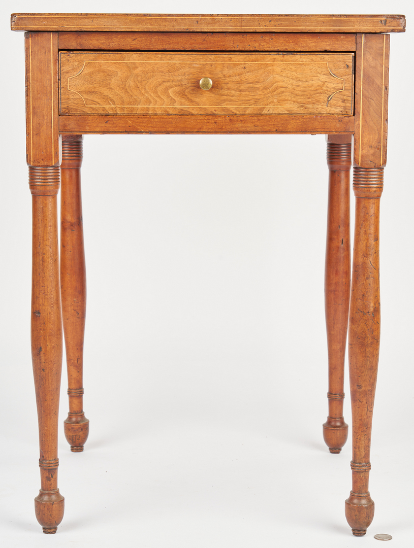 Lot 198: 2 Mid-Atlantic Tables, Tiger Maple and Inlaid