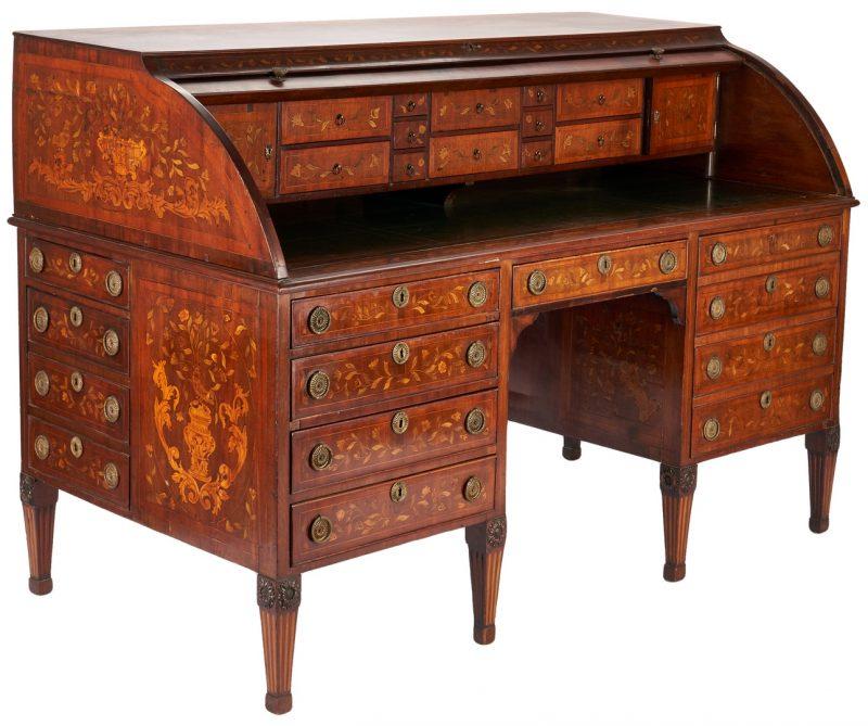 Lot 201: Edwardian Hobbs & Co. Marquetry Desk