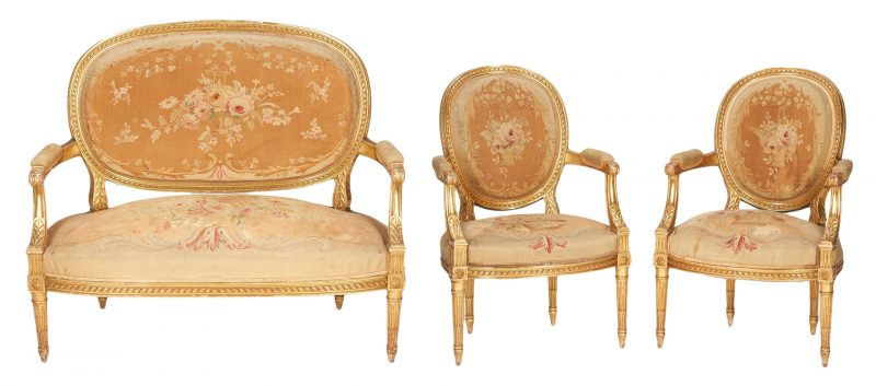 Lot 202: Louis XVI Style Gilt Carved Settee & 2 Arm Chairs