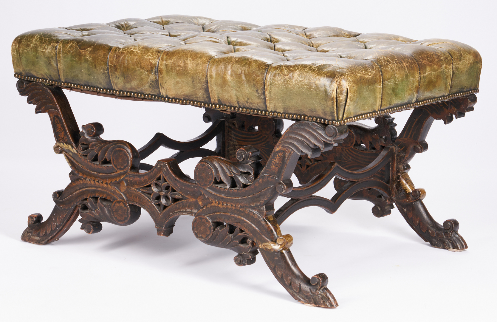 Lot 203: Baroque Style Tufted Leather Bench