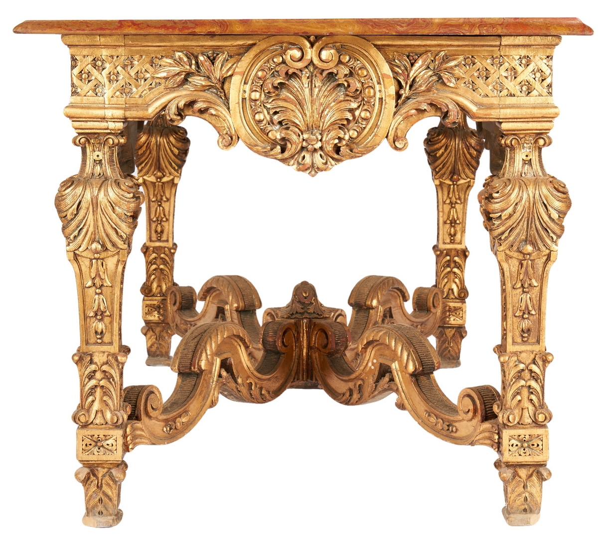 Lot 204: Italian Giltwood Console Table w/ Marble Top