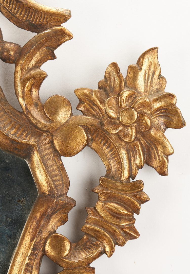 Lot 205: Pr. Italian Gilt Carved Mirrored Candle Sconces